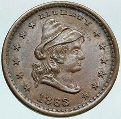 1863 United States Civil War Patriotic Cent Token Army Coin Lady Liberty I87655