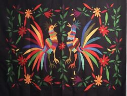"""NEW 60""""x52"""" Colorful Roosters Chickens Flowers Black Tapestry Wall Decor w Clips"""