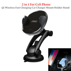 2 In 1 Cell Phone Qi Wireless Fast Charging Car Charger Pad Mount Holder Stand