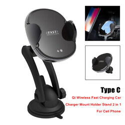 1x 2in1 Qi Wireless Fast Charging Car Mount Holder Bracket Stand For Cell Phone