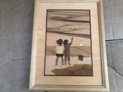 Hudson River Inlay Wood Marquetry Children At The Beach Signed Locatedxraylau
