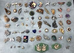 Vintage Pin Brooch/badge Bundle, 60+ Various Condition And Finishes