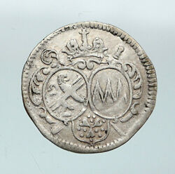 1683 German States Bamberg Orb And Cross Silver 1/24 Thaler Groschen Coin I87680
