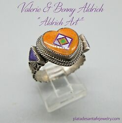 Famed Sw Artisans-valerie And Benny Aldrich-micro Mosaic Inlaid Heart Ring-sz.7