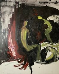 Original Oil Painting On Canvas Abstract By Chris Butler Angel By The Fire 1999