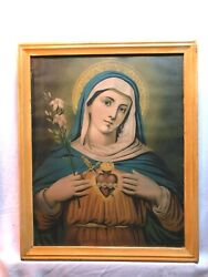Old Immaculate Heart Of Mary Sacred Heart Litho Print Holy Mother Of God