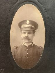 Antique Cabinet Card Photo Man In Salvation Army Uniform And Hat E Slater New York