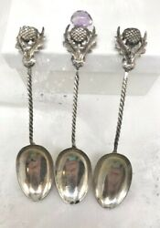 3 Antique Silver Demitasse Spoons Thistle Amethyst Crisford And Norris Rare