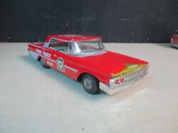 Vintage Japanese Taiyo Tin Toy Fire Chief Command Car Ford 851 Friction 1960's
