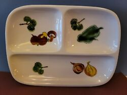Vintage Vegetable Tray Divided Ceramic Hand Painted Decorative Japan