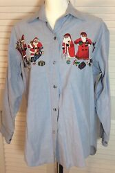 Casey Coleman Christmas Shirt Embroidered Button Up Chambray Assorted Santas