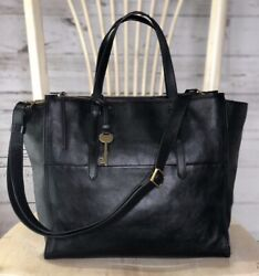 FOSSIL CAMPBELL Large BLACK Leather Tote Purse Crossbody Messenger Bag $248 EUC $139.95