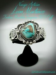 Navajo-leon Martinez-natural Indian Mountain Turquoise-925 Traditional Cuff