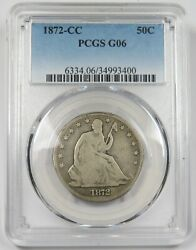 1872-cc Pcgs G 06 Silver Seated Liberty 50c Half Dollar Us Coin Item 24681a