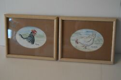 Original Art Watercolor Chickens Rooster Farmhouse Country Chic Paintings Signed