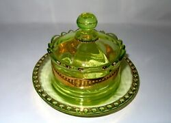 Rare And Hard To Find Antique Covered Butter Dish, Uranium Rich Vaseline Glass