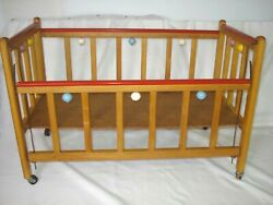 """Vintage Wooden Baby Doll Drop Side Crib Bed Toys Wheels 29"""" Long 15 Wide 20 T"""
