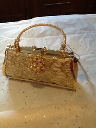 Women#x27;s Evening Gold Sparkle Bling Metal Clutch Handled Shoulder Chain Purse $22.00
