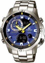 Casio Edifice Ema 100d-2a Led Thermometer Quartz Stainless Steel Menand039s Watch