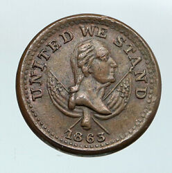 1863 United States Civil War Patriotic Our Country Pie Bakers Trade Token I87669