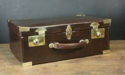 Heavy Duty Antique Leather Fishing Case Fitted Leather Interior