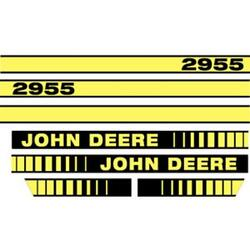 A-jd2955 Hood Decal Set Yellow And Black - Fits John Deere Tractor 2955