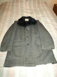 Woolrich Pure Wool Overcoat With Lining Made In Usa Mens Size38 Herringbone Grey