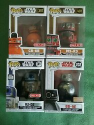 Funko Pop Star Wars Set Of 4 Exclusives R2-d2, Bb-9e, Cb-6b And M5-r3, New