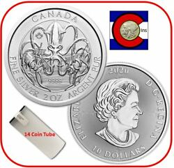 2020 Canada Kraken 2 Oz Silver - Creatures Of The North - 14 Coin Mint Tube/roll