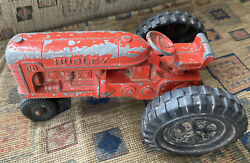Hubley Tractor Diecast Red Patina Vintage Farm Toy Fun