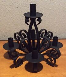 Vintage 5 Candle Holder Black Wrought Iron Candelabra Tabletop Rustic Gothic