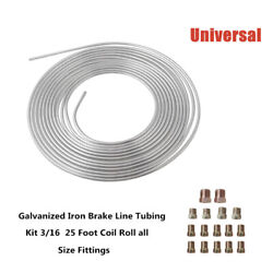 Galvanized Iron Brake Line Tubing Part 3/16 25 Foot Coil Roll All Size Fittings