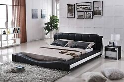 Us Pride Furniture Bonded Leather Contemporary Platform Bed Queen Black/white