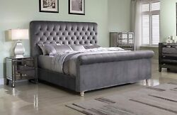 Best Master Furniture Jean-carrie Upholstered Sleigh Bed Cal. King Grey