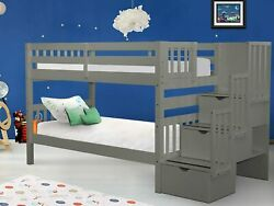Bedz King Stairway Bunk Beds Twin Over Twin With 3 Drawers In The Steps Gray