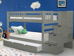 Bedz King Stairway Bunk Beds Twin Over Twin With 3 Drawers In The Steps And A Tw