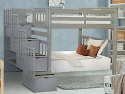 Bedz King Tall Stairway Bunk Beds Twin Over Twin With 4 Drawers In The Steps Gr