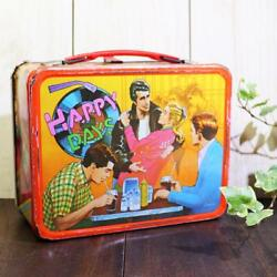 Happy Days Tin Plate Lunch Box With Water Bottle Vintage Thermos 17.5×20.5cm