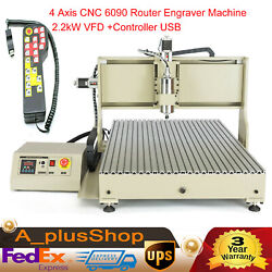 4 Axis Cnc 6090 Router Engraver Wood Carving Machine 2.2kw Vfd +controller Usb