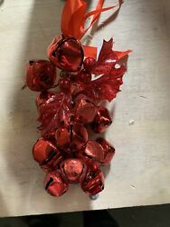 Set Of 6 7 Metal Jingle Bell Ornaments By Valerie Red Color