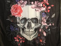 """NEW Skull w Pink Roses amp; Flowers Black Tapestry 60quot;x52"""" Wall Decor w Clips"""