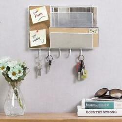 White Metal Mesh Wall Mount Mail Sorter Rack With Cork Board And Key Hooks, 2 Slot