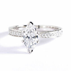 1.1 Cts Si2 F Hand Engraved Pave Marquise Diamond Engagement Ring 18k White Gold