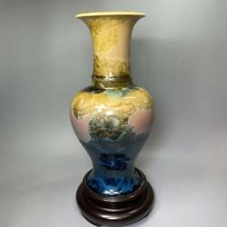 Vase Flower Case Ornament Material Pottery Color Blue Yellow Size 32.0cm Used
