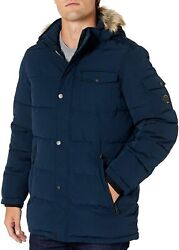 Nautica Mens Quilted Parka Jacket Removable Faux Fur Hood