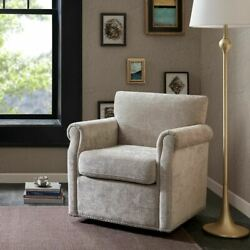 Luxury Cream Swivel Chair W/black Metal Solid Wood And Plywood Frame