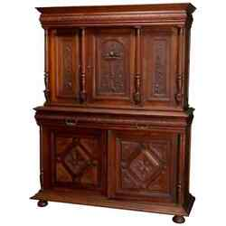 Antique French Renaissance Deeply Carved Walnut Cupboard 19th Century