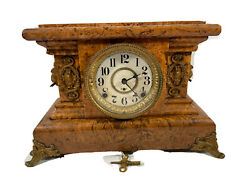 Seth Thomas Clock Faux Marble With Lion Heads Works Label No 295 E.