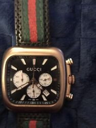 Quartz Coupe Brass Dial Chronograph Man's Watch Stainless Swiss Made