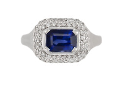 1970and039s Womenand039s 925 Ss 2.45 Ct Blue Sapphire And White Cz Engagement Wonderful Ring
